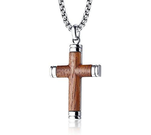 VNOX Zweifarbige Edelstahl Brasilien Palisander Holz Christian Taufe Jesus Kreuz Anhänger Halskette für Männer, 24″Rolo Kette