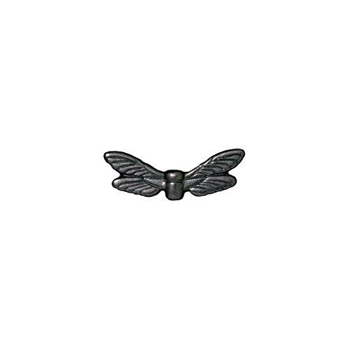 TierraCast Dragonfly Wings, 7x20mm, Black/Gunmetal Finish Pewter, 4-Pack