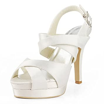af5046958b21 MOFY Satin Stiletto Heel Sandals   Platform With Buckle Wedding Shoes (More  Colors Available)