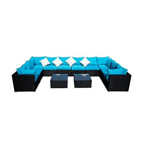 Outdoor Wicker Patio Furniture Sectional Cushioned Rattan Conversation Sofa Sets Black (Blue-12 Pieces) (Modern Conservatory Furniture Rattan)