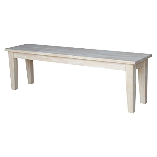 International Concepts Shaker Style Bench, Unfinished