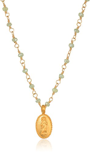 - Satya Jewelry Mystic Green Quartz Gold Mother Mary Wrapped Chain Necklace, 18