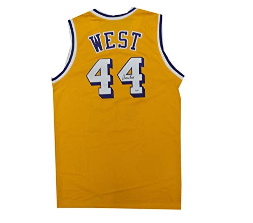 Autographed Jerry West Jersey - #44 Yellow - PSA/DNA Certified - Autographed NBA Jerseys