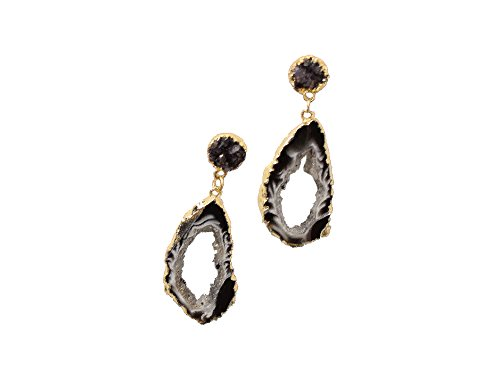 SONIA HOU Lit Earrings, Geode Agate Slices Hang On Druzy Ear Studs Electroplated in 24K Gold (Black Agate) - Birthday, Wedding, Anniversary, Engagement, Bridal Party Gifts