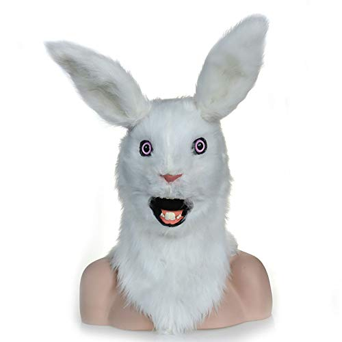 Simulation Animal Mask Halloween Dance Party Party Supplies Mouth Moving Rabbit Cute Animal Head Live Shooting Plush Props (Color : White)