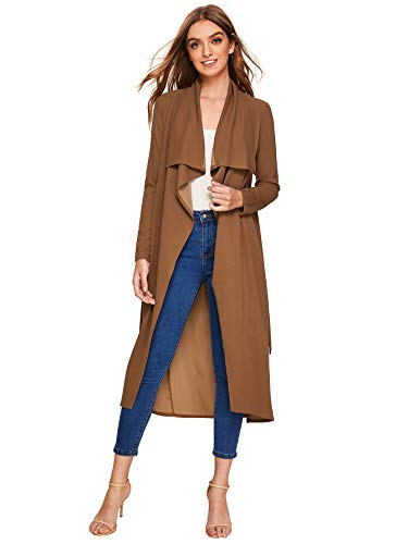 Verdusa Women's Casual Long Sleeve Lapel Outwear Duster Coat Cardigan Brown M ()