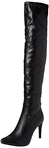 Ajvani Womens Ladies high Heel Pointed Toe Over The Knee Stretch Elastic Riding Boots Size Black Matte