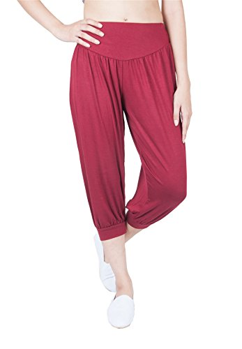 Lofbaz Donne Hybrid Capri 3/4 Long stile di Pantaloni da yoga pilates sportivi harem da yoga Solid Borgogna (Capri)