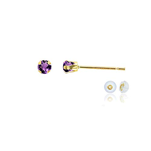 Genuine 10K Solid Yellow Gold 3mm Round Natural Purple Amethyst February Birthstone Stud Earrings