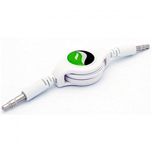 (Retractable Aux Cable Car Stereo Wire Audio Speaker Cord 3.5mm Aux-in Adapter Auxiliary [White] for iPod Nano 5th, 7th Gen - iPod Touch 1st, 2nd, 3rd, 4th, 5th Generations - HTC 10)