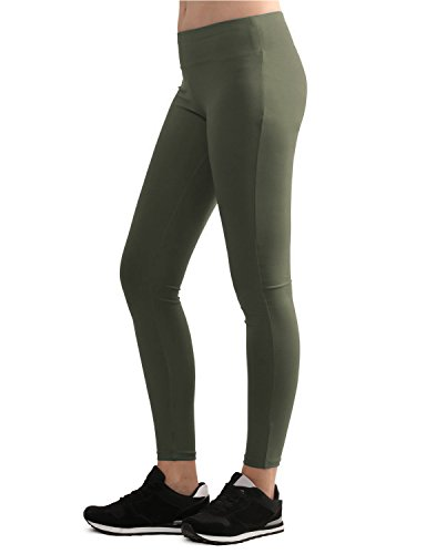 Lock and Love WB962 Womens Tights Ankle Length Legging Pants XXXL Olive -