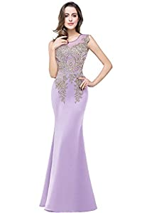 MisShow Women's Rhinestone Long Lace Mermaid Evening Dresses,Lavender,Size 6