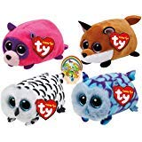 (Teenys Ty Mini Forest Friends Finley Fox, Rugger Raccoon, Mimi Blue and Nellie Owls Set of 4 with Bonus Animals Sticker by Ty Beanie)