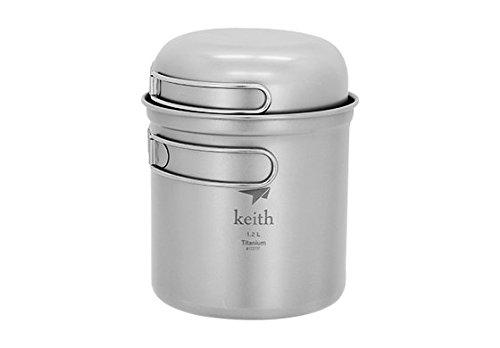 Keith Camping Picknick Titan Kochtopf Pfanne Schüssel w/Griff Kochgeschirr-Set 0,3+ 0,4+ 1.2L
