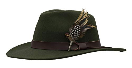 Walker & Hawkes - Unisex Richmond Fedora Crushable Felt Hat with Leather Trim and Feather Brooch - Dark Olive - M ()