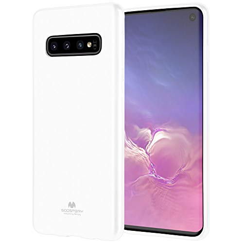 Galaxy S10 Case, GOOSPERY [Slim Fit] Pearl Jelly [Flexible] Rubber TPU Case [Lightweight] Bumper Cover (White) S10-JEL-WHT