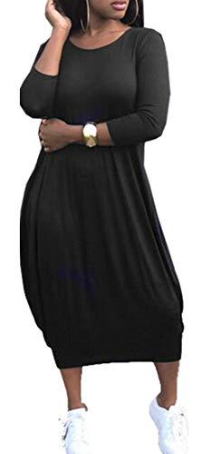 Les Femmes Domple Manches Longues Poches Crewneck Solides Robe Maxi Ourlet Bulle Noir