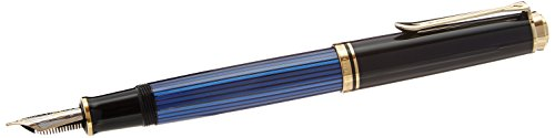 PELIKAN Souveran 600 Gt Medium Point Fountain Pen, Black/Blue (995324) by Pelikan