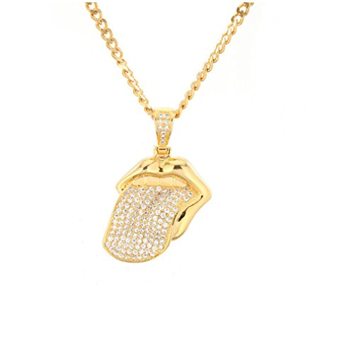 (Elogoog Women Men's Necklace Long Pendant Stainless Steel Zircon Hip-hop Tongue Pendant Choker Lovers Jewellery (Gold))
