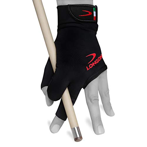 Longoni Black Fire 2.0 Billiard Pool CUE Glove - for Left or Right Hand - Black (X-Large, for Left Hand)