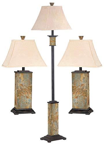 Kenroy Home Bennington 3-Piece Lamp Set with Natural-Slate -