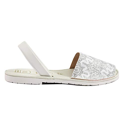 Avarcas Sandals for Women - Handmade in Spain with Natural Leather- Slip on/Slingback Flats (US 7 (EU 37), Silver Fantasy w. Padded Sole)