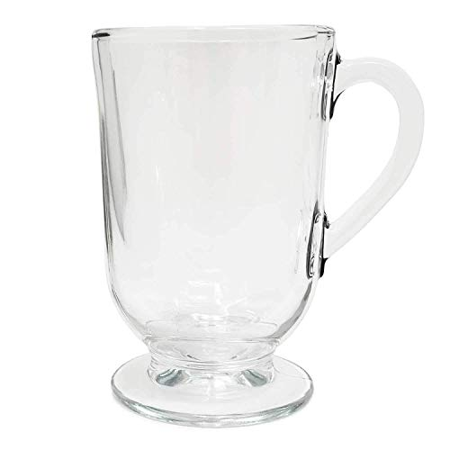 Set of 6 Irish Coffee Glass Mugs Footed 10.5 oz.Thick Wall Glass For Coffee, tea, Cappuccinos, Mulled Ciders,Hot Chocolates, Ice cream and More (Mugs 6 Footed)