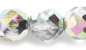 Preciosa Czech Fire 10mm Polished Glass Bead, Faceted Round, Crystal Vitrail, 60-Pack -