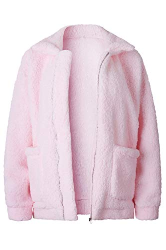 énormes Zipper Huge Manteau Fuzzy Outwear Winter Zinmuwa Faux Femmes Rose Poches Warm xIz0H0qw