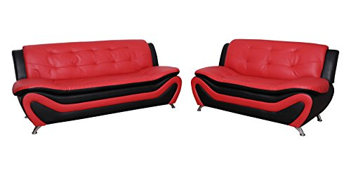 Beverly Fine Furniture F4503-3pc Aldo (3 Piece) Modern Sofa Set, Black/Red