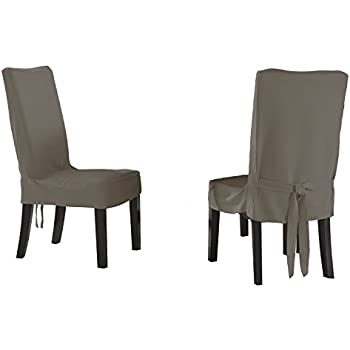Serta Relaxed Fit Smooth Suede Furniture Slipcover For Short Dining Chair,  Grey