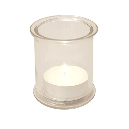 Glass Candle Holders (4 Count) and Extra Large Citronella Tea Light Candles (12 Count) (Large Citronella Tea Lights)