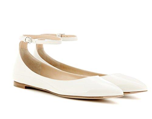 Femme Classiques Blanc Femmes Cheville Chaussures Edefs Plat Pour Ballerines Bride PaIqWxw6