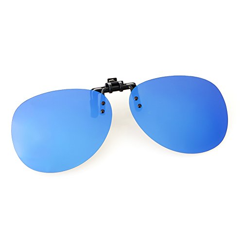 (Cyxus Polarized Aviator Sunglasses with Clip On Mirrored Lens Blue Flash)