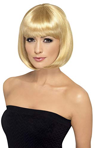 Smiffys Women's 12inch Short Dark Blonde Bob with Bangs, One Size, Partyrama Wig, 5020570423936 -