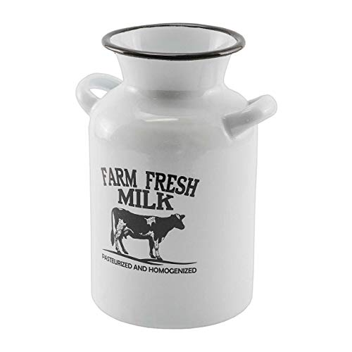 Farm White - Enamel White Farm Fresh Milk Jug Decor Metal Black/White