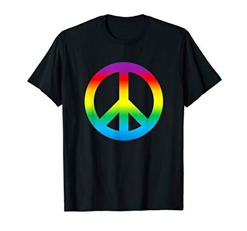 (Rainbow Peace Sign T Shirt Hippy)