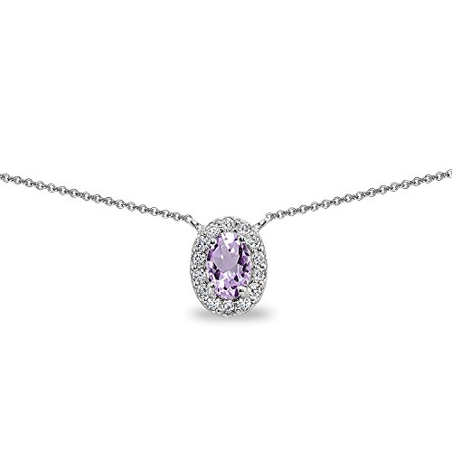 Sterling Silver Amethyst Oval Halo Choker Necklace with CZ Accents