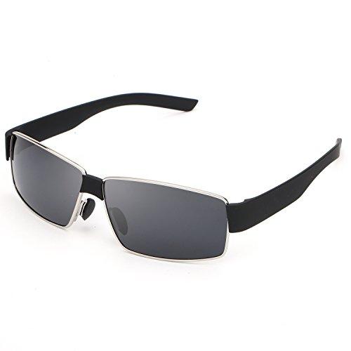 HDCRAFTER Metal Frame Rectangular Polarized Driving Sunglasses for Men