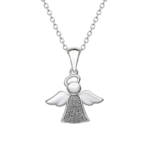 KIDS COLLECTION Jewelry for Girls, Silver Glitter Angel Pendant Necklace, 16
