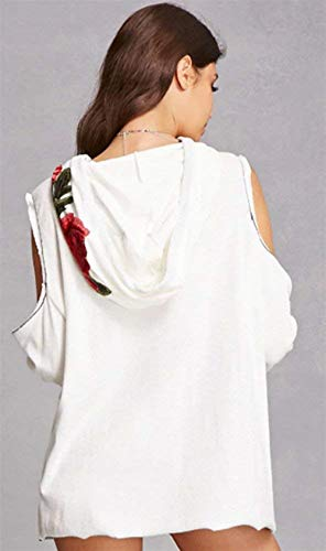 Sweat À Blanc Femme Capuche Betrothales Dénudées Epaules Ma ddqrw0nt