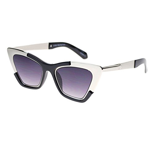 Womens Unique Runway Fashion Thick Metal Cat Eye Sunglasses Silver - Vouge Sunglasses