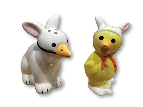 Salt & Pepper Shakers - Hoppity Spring Bunny & Duck - Easter, Spring Tabletop Decor (Hoppy ()