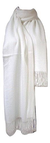Premium Pashmina Shawl Wrap Scarf - White (Kids Cashmere Collection)