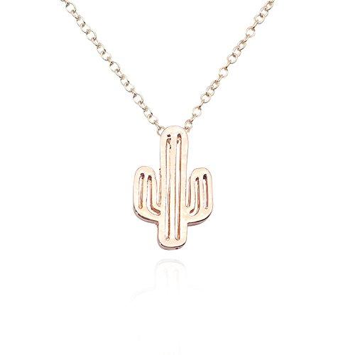 JUESJ Cactus Necklace Simple Gold Silver Minimalist Desert Necklaces For Women Hollow Cactus Bohemia Necklace (Rose ()