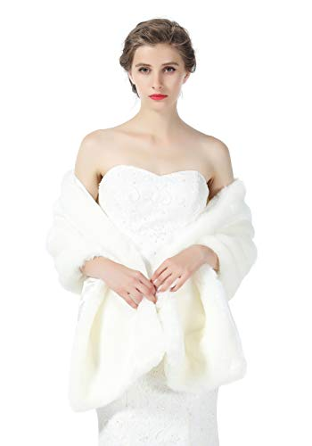 Faux fur Shawl Wrap for Wedding Women Shrug Bridal Stole Winter Cover Up Bridesmaids Cape S76 Ivory -