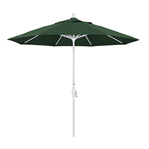 California Umbrella 9' Round Aluminum Market Umbrella, Crank Lift, Collar Tilt, White Pole, Hunter Green Olefin