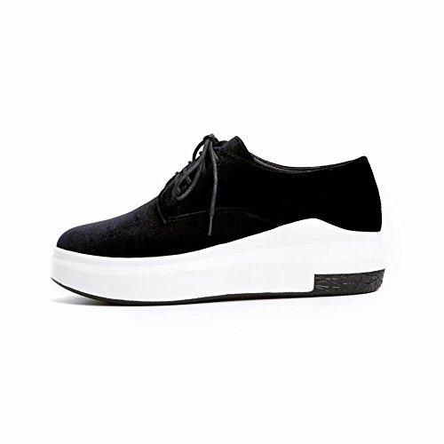 Carolbar Mujeres Lace Up Comfort Pleuche Retro Plataforma Oxfords Zapatos Negro