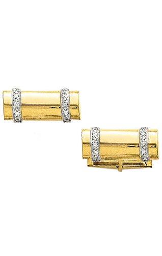 Shaped Diamond Cufflinks (14K Yellow Gold Log Shaped Cufflinks with .20 ct. Diamonds-89954)