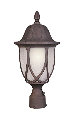 (Designers Fountain 2866-AG Capella Collection 1-Light Exterior Post Lantern, Autumn Gold Finish with Satin Crackled Glass)